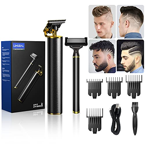 LIMURAL Hair Trimmer for Men + Manual Razor Kit, T Outliner Beard Trimmer with T-Blade Zero Gapped Detail Trimmer, Liners for Men Clippers