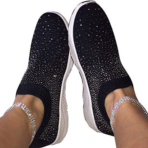 Tangzhan Zapatillas deportivas tejidas voladoras, unisex, para mujer, estilo informal, para correr, para hombre, color Negro, talla 37 EU