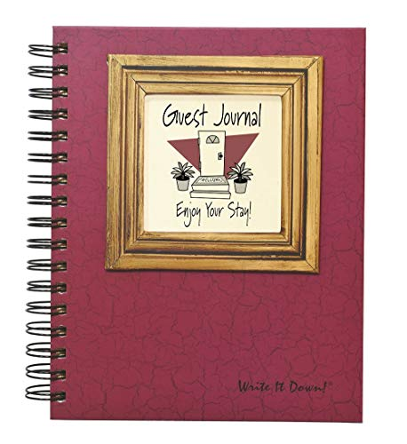 """Journals Unlimited """"Write it Down!"""" Series Guided Journal, Guest Journal, Enjoy Your Stay!, with a Cranberry Hard Cover, Made of Recycled Materials, 7.5""""x 9"""""""
