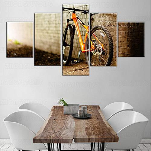 yuanjun Pegatinas De Pared 5 Unidades Lienzo Pintura Lienzo Cuadro Pintura Habitación Decoración Impresión Cartel Arte De La Pared Pintura del Cartel De La Bicicleta