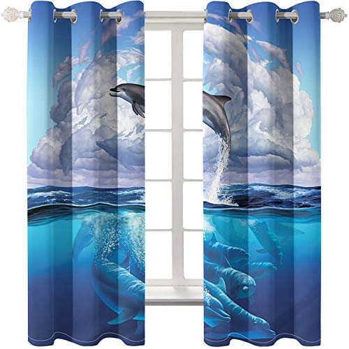MMHJS Waterproof Thick Double-Layer Blackout Curtains Suitable For Polyester Curtains For Bedrooms, Living Rooms And Balconies Punch Through The Pole 2 Pieces