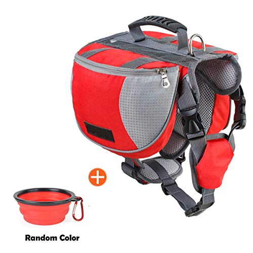 schnappy Dog Pack Travel Camping Hiking Backpack Saddle Bag for Small & Medium & Large Dogs (Red, L)