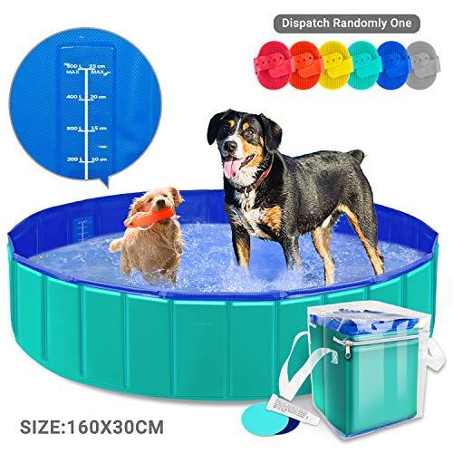 AYITOO Bañera para Perros, PVC Antideslizante y Resistente al Desgaste Piscina para Mascotas Perros, Bañera Plegable de Mascotas para Mascotas, Natación Piscina para Perros 160 cm x 30 cm
