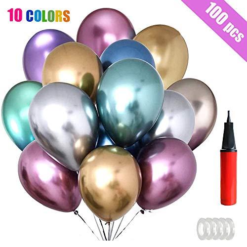 BOYATONG Luftballons Metallic Geburtstags,Metallic-Luftballons Set,100 Stück Luftballons Helium,Latexballons Metallic Party Ballons Set für Geburtstagsdeko,Hochzeitsdeko,Geburtstag Party,Babypartys