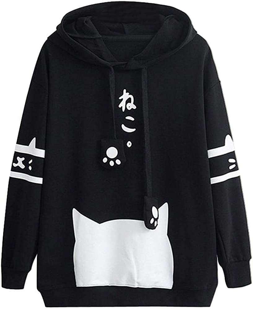 Hoodies for Women, Women'S Cute Cats Hoodies Sweatshirt Casual Pullover Blouses Long Sleeve Kawaii Tops Teens Girls