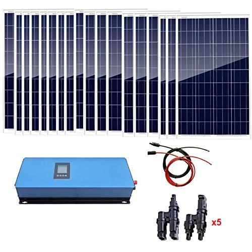 AUECOOR 1800 W Home Grid Tie Solar Kit 18 Piezas 100 W Panel Solar policristalino y 2000 W inversor de Corriente de Carga AC 230 V