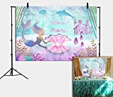Daniu Little Mermaid Birthday Party Backdrop 7x5ft Under The Sea Castle Whale Pearl Girls Photography Background Princess Purple Cake Table Banner Photo Booth Props