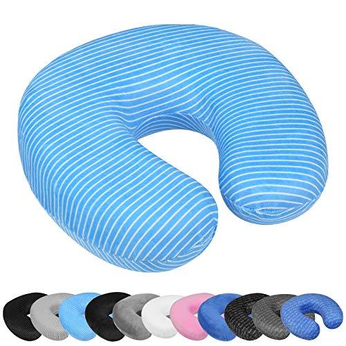 WELLGRO Nackenkissen mit abnehmbarem Bezug - Memory Schaum - Reißverschluss - inkl. Transportlasche - ca. 28 x 28 x 9 cm (LxBxH) - Reisekissen - Farbe wählbar, Farbe:Blau mit Streifen