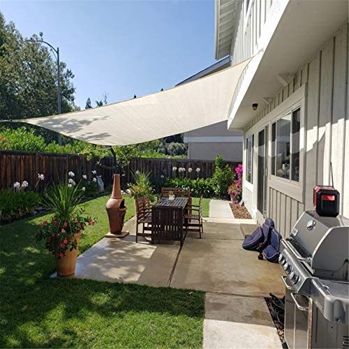 ANYURAN Toldo de Vela Parasol Resistente a los Rayos UV, Toldo Rectangular con Dosel de Vela, para Patio al Aire Libre, jardín, Beige
