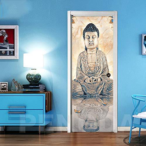 Deur Sticker 3D zelfklevend Boeddha idee deurbehang muurschildering pvc fotobehang waterdicht deurposter afneembaar behang voor deurpaneel slaapkamer keuken badkamer deur decoratie 90x210cm