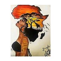 古典的な壁の芸術アフリカの女性の絵画抽象的なアフリカのキャンバスのプリントとポスター背景家の装飾(40x60cm)フレームなし