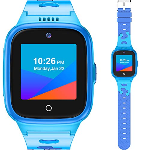 4G Kids Smart Watch with SIM Card - Ages 4-12 Boys Girls - GPS Locator SOS Alarm Remote Monitoring 2-Way Face to Face Call Voice & Video Camera Worldwide Coverage - Blue