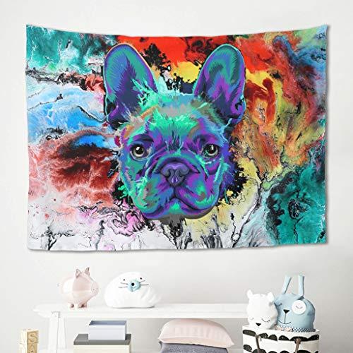 Gamoii Tapiz de pared con diseño de bulldog francés azul y perro azul, ideal para la playa, yoga, meditación, fibra de poliéster, 100 x 150 cm, color blanco