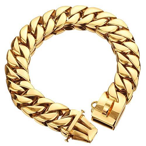 Gold 32MM Chain Halsband, Pet Training Halsbanden, RVS Heavy Duty Cubaanse Link, Ketting Voor Bully Pitbull, Bulldog