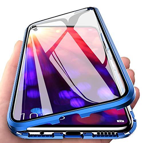 Huawei Honor View 20 Hülle, Vollbildabdeckung Gehärtetem Glas mit Magnetischer Adsorptionskasten Metall Rahmen 360 Grad Komplett Schutzhülle für Huawei Honor View 20 Blau