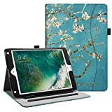 Fintie Hülle für iPad 9.7 Zoll 2018 2017 / iPad Air 2 / iPad Air - [Eckenschutz] Multi-Winkel Betrachtung Folio Stand Schutzhülle Hülle mit Dokumentschlitze, Auto Sleep/Wake, Mandelblüten