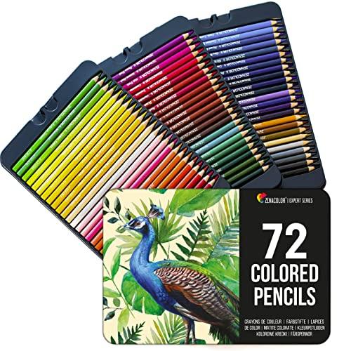 72 Zenacolor Buntstifte (Nummeriert) - Einfach aufzubewahren - Professionelles Buntstifte Set für Erwachsene - Holzstifte Ideal für Malbücher für Erwachsene, Skizzenbücher