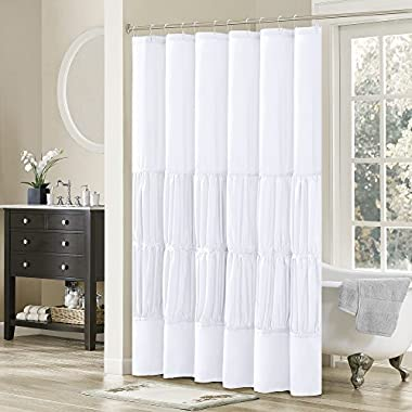 Comfort Spaces – Montana Shower Curtain – White – Ruched Pattern - 72x72 inches