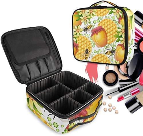 Cosmétique HZYDD Yellow Honey Bee Make Up Bag Trousse de Toilette Zipper Sacs de Maquillage Organisateur Poche for Compartiment Femmes Filles Gratuit
