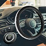 HAOKAI Premium Super Girly Diamond Steering Wheel Cover with Bling Bling Crystal Rhinestones Universal Size 15 Inch Anti-Slip Leather PU (Black)