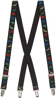 SuspenderStore Kids' Dinosaurs on Black Suspenders