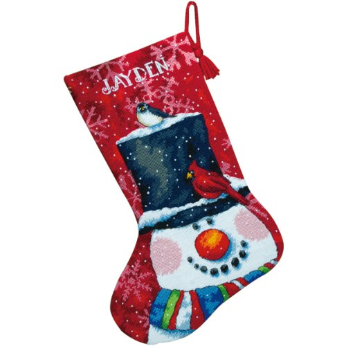 Dimensions Needlepoint Snowman and Friends Personalized Christmas Stocking Kit, Printed 12 Mesh Canvas, 16''