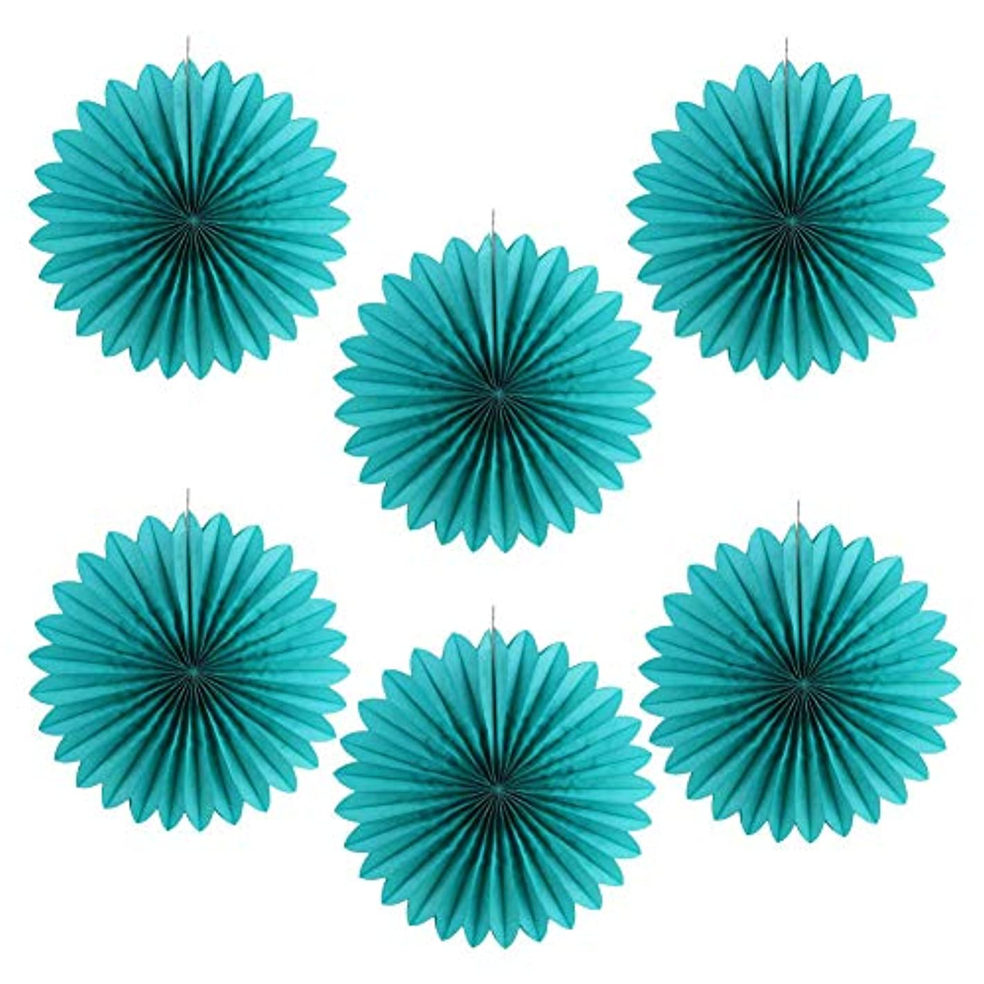 14'' Tissue Paper Fans Honeycomb Birthday Wedding Home Party Hanging Decoration 6Pcs (Teal Blue)
