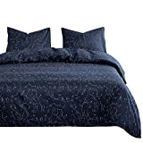 Wake In Cloud - Constellation Duvet Cover Set, White Space Stars Pattern Printed on Navy Blue, Soft Microfiber Bedding with Zipper Closure (3pcs, Twin Size)