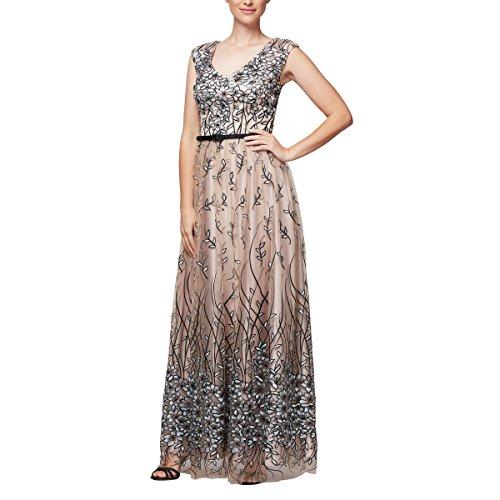 Alex Evenings Damen Sleeveless V-Neck Embroidered Gown with Satin Detail Kleid für besondere Anlässe, Nude Multi, 36