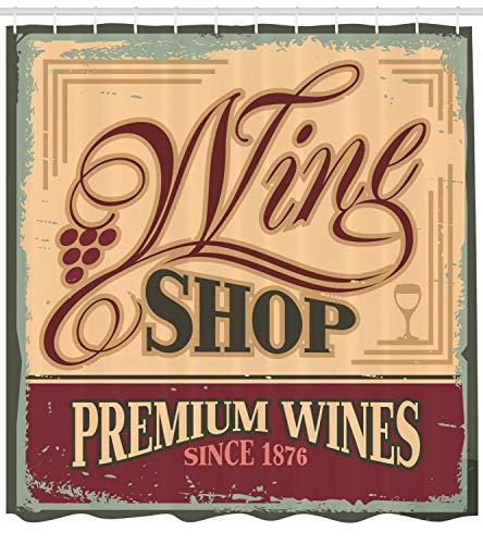 /N Cortina de Ducha Vintage Old Wine Shop Sign Print para baño