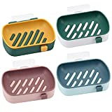 QAZX 4 Piezas Jaboneras, Caja de jabón portátil con Drenaje, Jabonera con Ventosa y Gancho Utilizado en Cocina, baño, Ducha