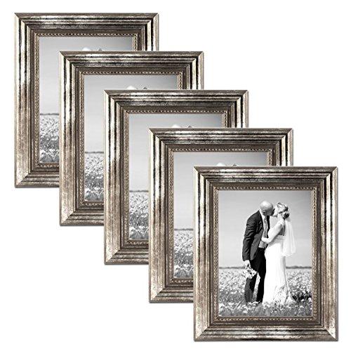 PHOTOLINI 5er Set Bilderrahmen 21x30 cm/DIN A4 Silber Barock Antik Massivholz mit Glasscheibe und Zubehör/Fotorahmen/Barock-Rahmen
