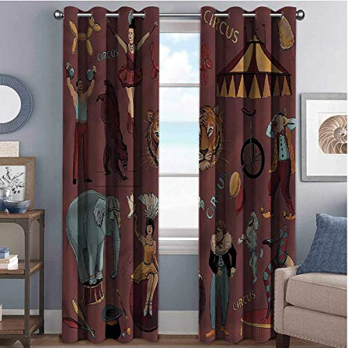 Annery Vintage Wear-resistant color curtain Circus Tent Tiger Dogs Art 2 panel sets W42 x L72 Inch