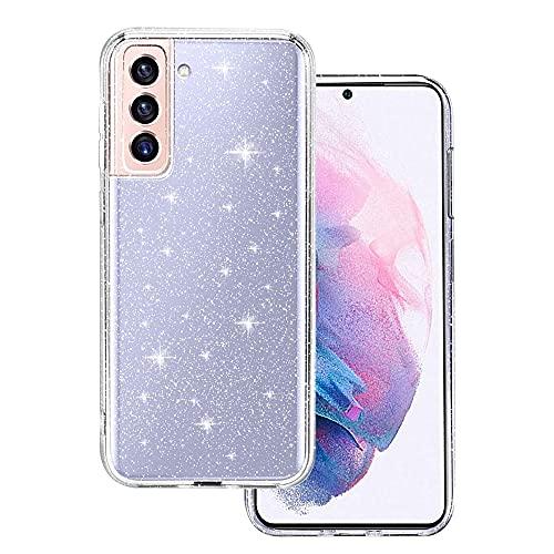 CHIMUCO Cover Compatibile con Samsung Galaxy S21 5G / 4G Custodia Glitter, Brillantini Clear Bling Flessibile TPU Sottile Trasparente Silicone Liquid Crystal Custodia Case