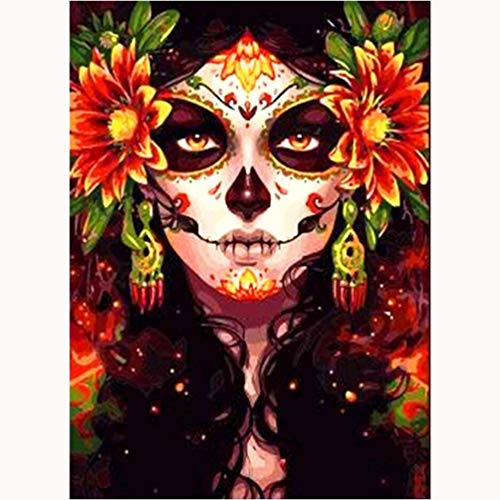 5D Halloween Diamond Painting Kits for Adults 12x16Inch, DIY Full Round Drill Crystal Diamond Painting Dotz Embroidery Cross Stitch Arts Craft Canvas Crystal Halloween Gift for Your Family Skull Girl