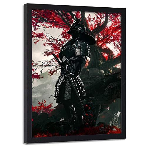 carowall CAROWALL.COM Imagen con Marco Negro Samurai Cuadro Poster Abstracto Rojo 50x70 cm