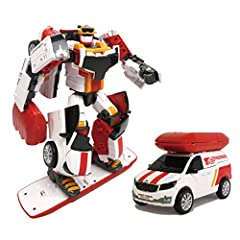 "3 different types of transformation: robot, hovercraft, delivery van! Easy transformation functions Includes 1x robot, 1x Tokey (key), 1x tracking pad, 1x speed board, 1x sticker Figure size: 10"" / Age: 4 Years+"