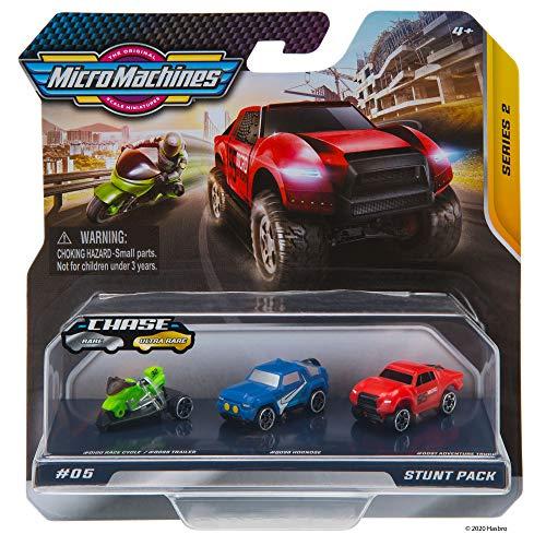 Micro Machines Paquete de Inicio, Truco - Incluye 3 vehículos, Motocicletas y Autos de Carrera, Posibilidad de Algo Raro - colección de Autos de Juguete