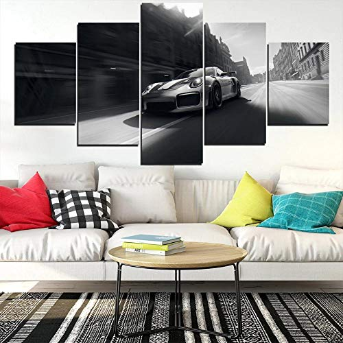 baixiangguo 911 Gt Carmodern Wall Art 5 Combination Wall Art Pictures Canvas Hd Printing Framed Modern Home Decoration Room-60 Inches Wide X 32 Inches High