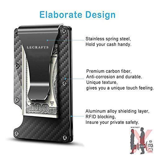 Carbon Fiber Wallet -  Money Clip - RFID Blocking Wallet - Metal Wallet  - Mens Wallet