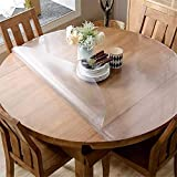 OstepDecor Upgraded Version Frosted Round Table Cover, 2mm Thick 54 Inches Round Table Protector, No Plastic Smell Transparent Waterproof Tablecloth, Vinyl Circle Table Cover for Glass, Marble Table