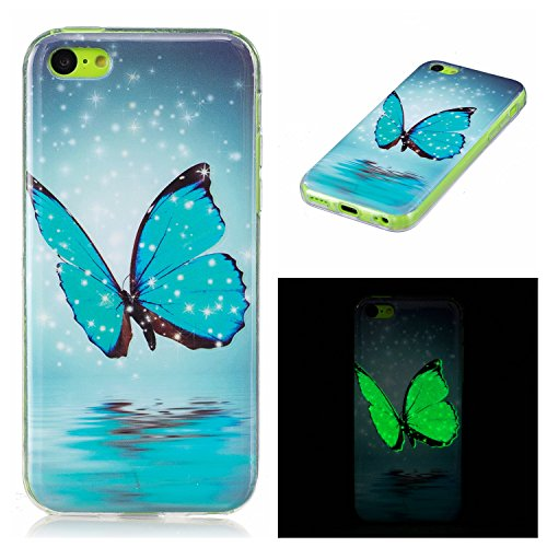 Coque iPhone 5C, Carols iPhone 5C (4 Zoll) Étui TPU Silicone Souple Coque ,[Vert Night Glow In The Dark] Housse étui Flexible protection en TPU Silicone Shell Housse Coque étui creux Slim Case Cover Cuir Etui Housse de Protection Coque Étui iPhone 5C (4 Zoll) - Papillon bleu