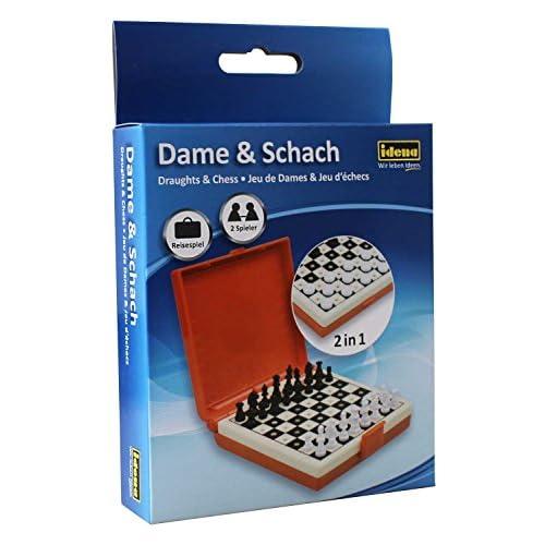 Idena 40421 - Gioco da viaggio Dame e scacchi, ca. 12 x 18 x 3 cm