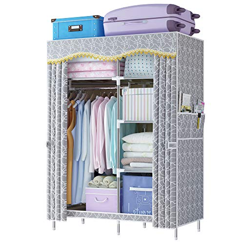 ldab Portable Wardrobe Closet Bedroom Clothes Closet Storage Organizer with Storage Shelves Hanging Rack Side Pockets 41 L x 18 W x 67 H Extra Strong and Durable -Grey Pattern