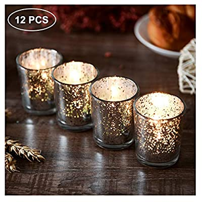 SUPREME LIGHTS ·2017· Silver Votive Candle Holder-Set of 12 Wedding Centerpieces for Table, Mercury Glass Tealight Candle Holders Bulk for Birthday |Party |Home Decoration