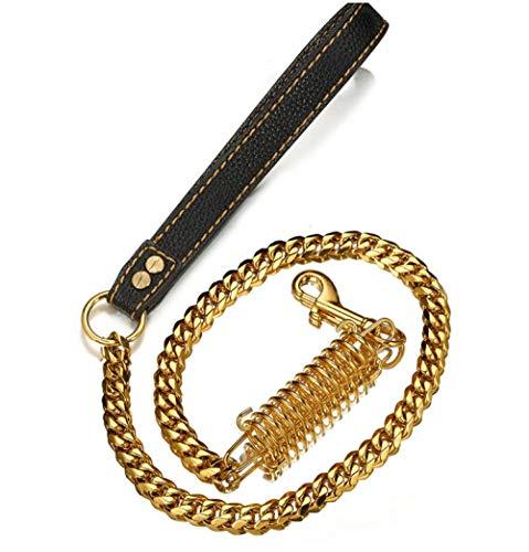 PMG collar de perro de acero inoxidable cadena de oro hueso castillo bulldog pitbull 17mm perro grande perro collar correa para mascotas productos - Correa XL 19mmX55cm