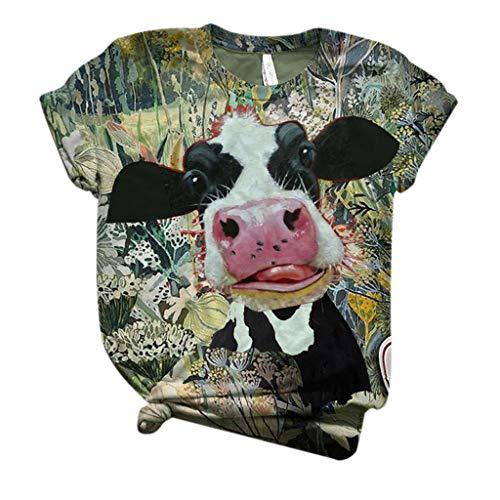 Lazzboy Store Streetwear Aufdruck Sweatshirt Beiläufig Damen Plus Size Frauen Kurzarm 3D Kuh gedruckt O-Neck Tops T-Shirt Bluse (Schwarz,3XL)