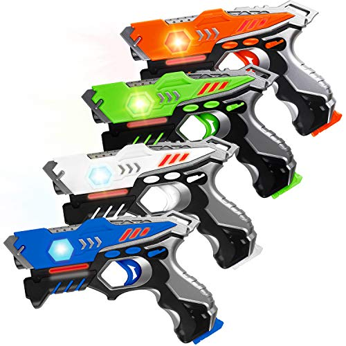 HISTOYE Laser Tag Guns Set of 4 Laser Tag for Kids 4 Player Pack Battle Mega Indoor Outdoor Lazer Tag Best Gift Gun Toys for 4 5 6 7 8 9 10 11 12+ Year Old Boys Girls Teenager