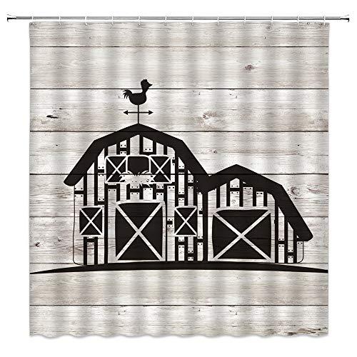 Landhaus-Duschvorhänge, rustikales Landhaus-Huhn, süße Tiere, Hahn auf Vintage Shabby Chic Scheune mit Windmühle auf rustikalem Holzstoff, Badezimmer-Vorhang 178 x 177,8 cm mit Haken