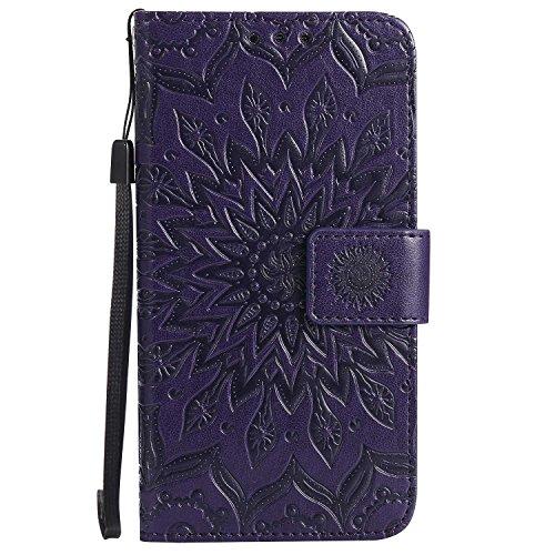 LAFCH Handyhülle für Galaxy A5 2015 Hülle, Premium Mandala Geprägtes Muster PU Leder Flip Schutzhülle für Samsung Galaxy A5 2015, mit Karteneinschub, Violett